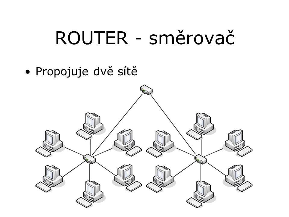 ROUTER - směrovač Propojuje dvě sítě