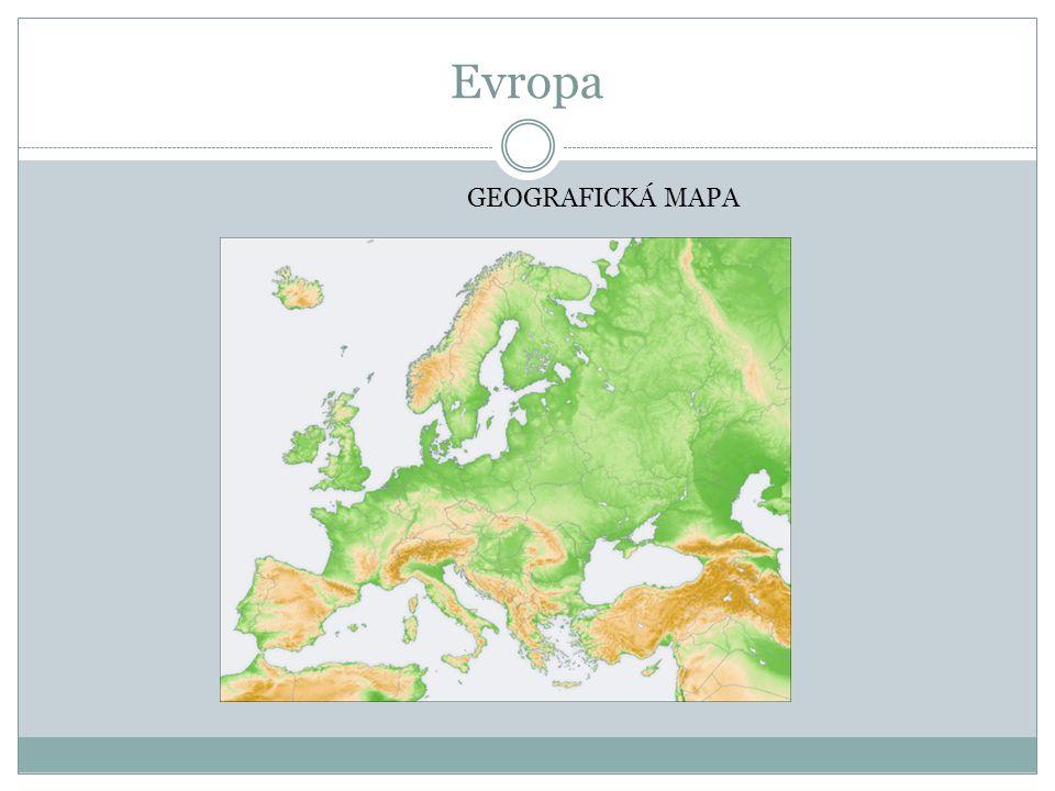 Evropa GEOGRAFICKÁ MAPA