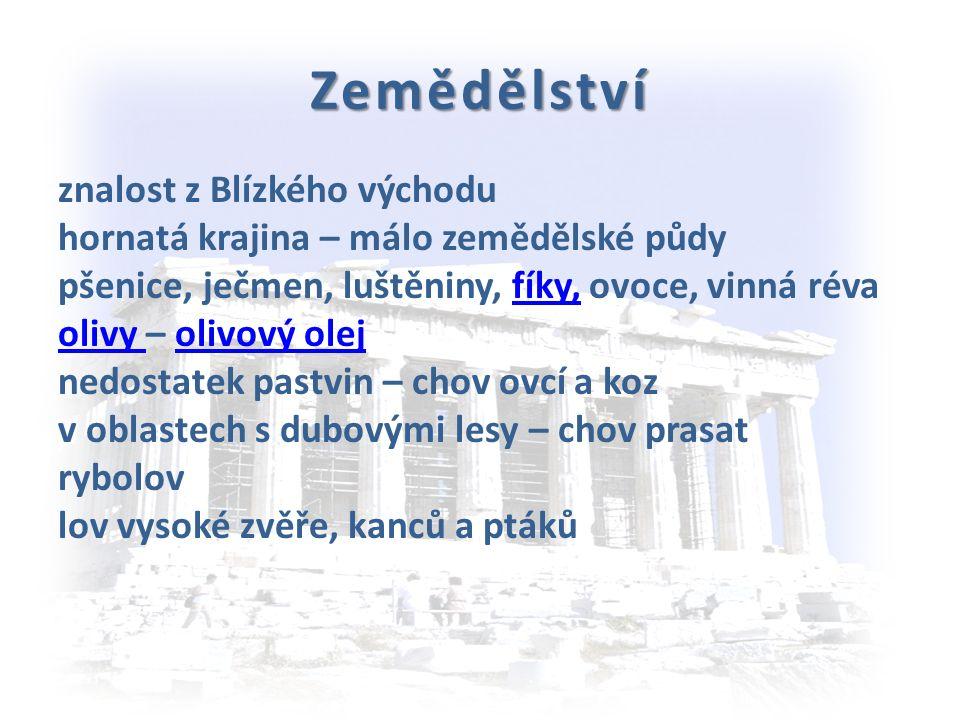 Přírodní podmínky nejstarší evropské civilizace - v egejské oblasti - řecká pevnina, ostrovy (Kréta) poloostrov Peloponés mírné a deštivé zimy, horká