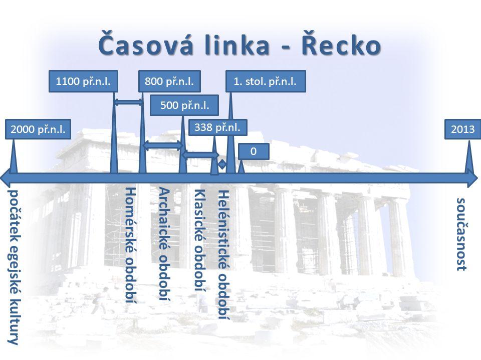 Období řeckých dějin 1. Egejské kultury – počátek 2000 př.n.l. středisko Kréta, Mykény 2. Homérské – 1100 -800 př.n.l. základním zdrojem informací Hom