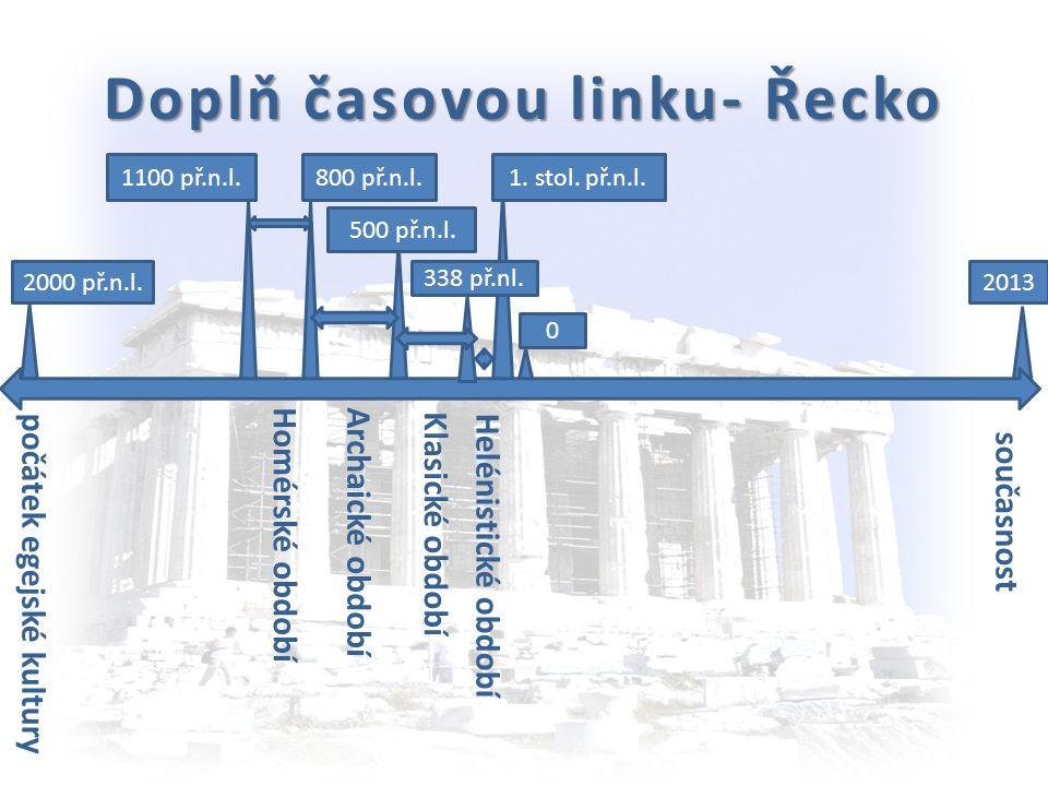 Časová linka - Řecko 2000 př.n.l. 1100 př.n.l. 500 př.n.l. 0 2013 338 př.nl. počátek egejské kultury Homérské období 800 př.n.l. Archaické období Klas