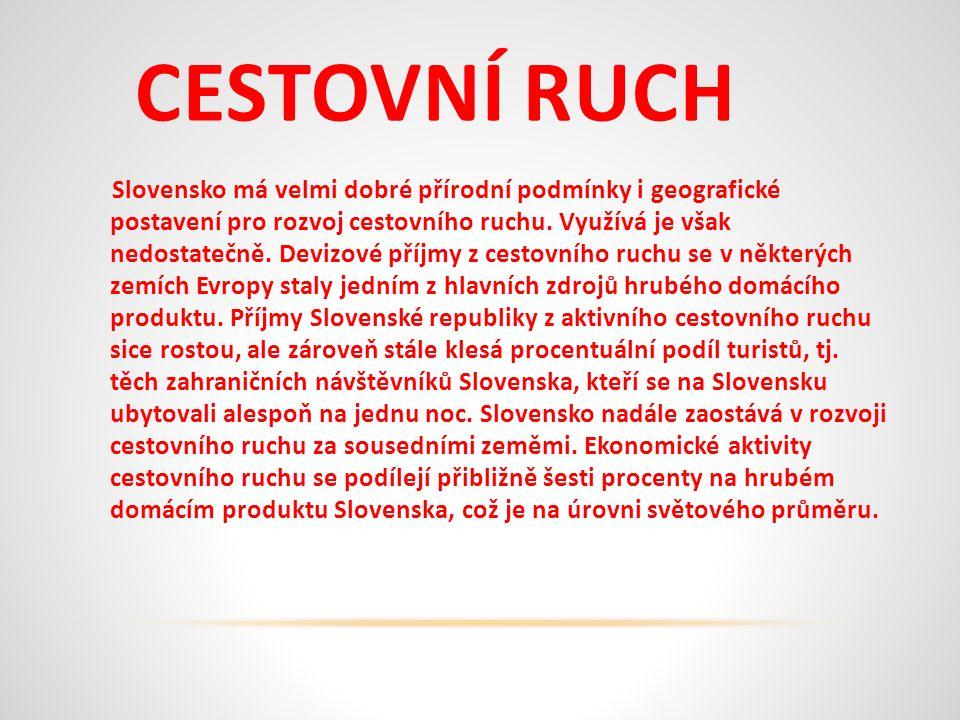 CESTOVNÍ RUCH Slovensko má velmi dobré přírodní podmínky i geografické postavení pro rozvoj cestovního ruchu.