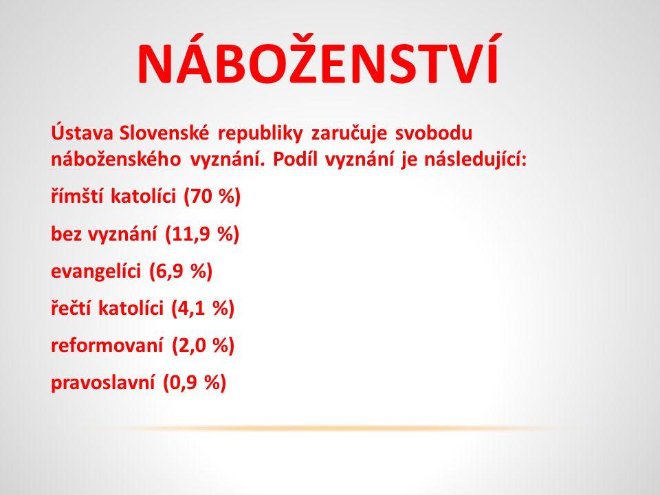 NÁBOŽENSTVÍ Ústava Slovenské republiky zaručuje svobodu náboženského vyznání.