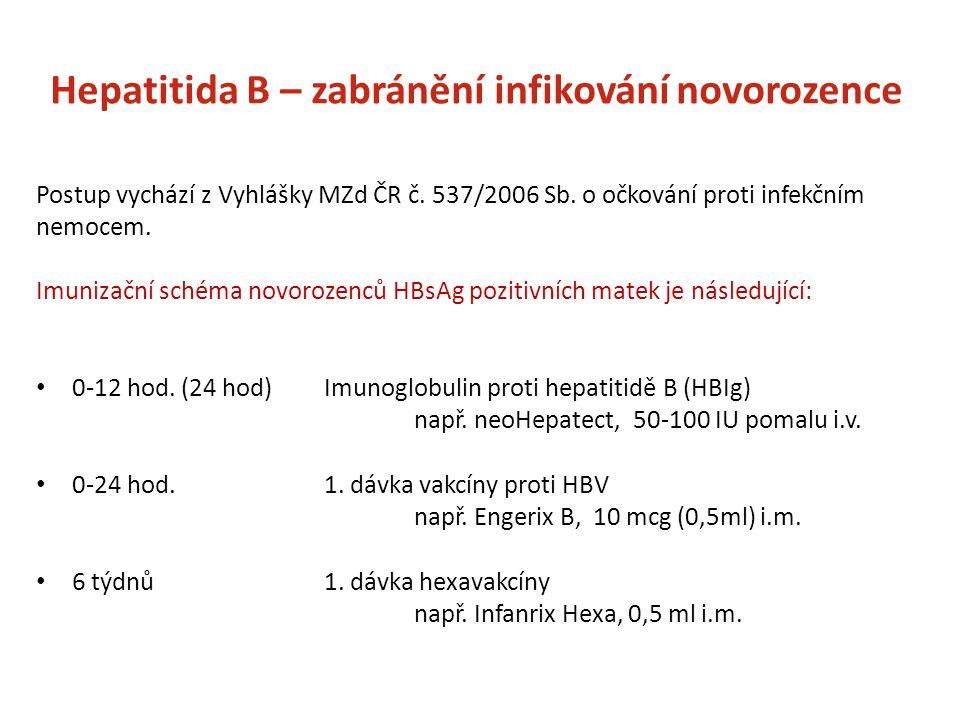 Hepatitida B – zabránění infikování novorozence Postup vychází z Vyhlášky MZd ČR č.
