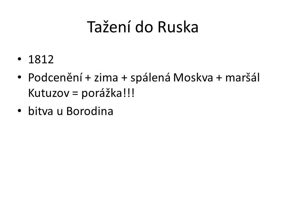 Tažení do Ruska 1812 Podcenění + zima + spálená Moskva + maršál Kutuzov = porážka!!.