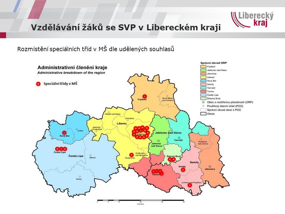 Vzdělávání žáků se SVP v Libereckém kraji Rozmístění speciálních tříd v MŠ dle udělených souhlasů