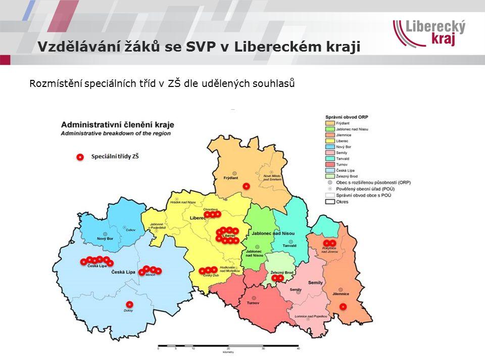 Vzdělávání žáků se SVP v Libereckém kraji Rozmístění speciálních tříd v ZŠ dle udělených souhlasů