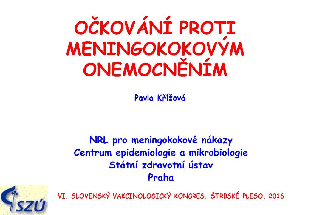 OČKOVÁNÍ PROTI MENINGOKOKOVÝM ONEMOCNĚNÍM NRL pro meningokokové nákazy Centrum epidemiologie a mikrobiologie Státní zdravotní ústav Praha VI.
