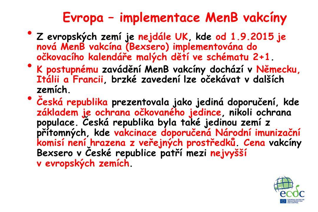 Evropa – implementace MenB vakcíny Z evropských zemí je nejdále UK, kde od 1.9.2015 je nová MenB vakcína (Bexsero) implementována do očkovacího kalendáře malých dětí ve schématu 2+1.