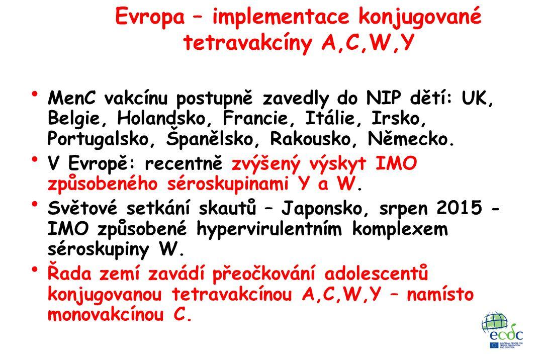 Evropa – implementace konjugované tetravakcíny A,C,W,Y MenC vakcínu postupně zavedly do NIP dětí: UK, Belgie, Holandsko, Francie, Itálie, Irsko, Portugalsko, Španělsko, Rakousko, Německo.