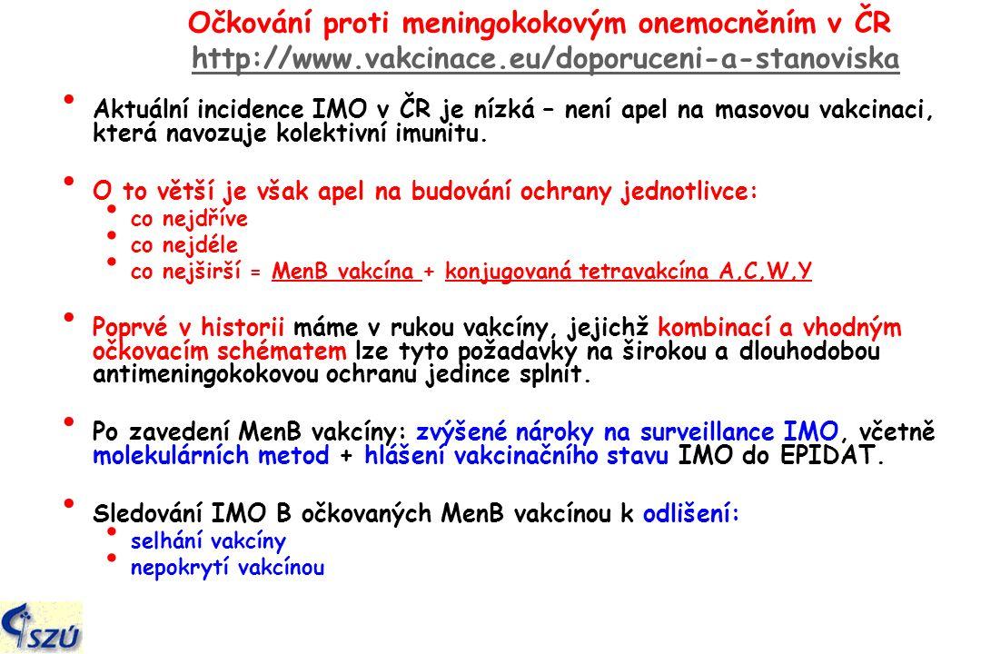 Očkování proti meningokokovým onemocněním v ČR http://www.vakcinace.eu/doporuceni-a-stanoviskahttp://www.vakcinace.eu/doporuceni-a-stanoviska Aktuální incidence IMO v ČR je nízká – není apel na masovou vakcinaci, která navozuje kolektivní imunitu.