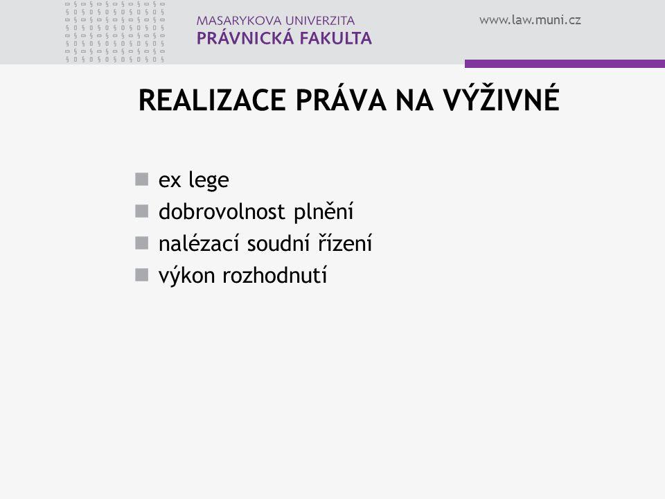 www.law.muni.cz REALIZACE PRÁVA NA VÝŽIVNÉ ex lege dobrovolnost plnění nalézací soudní řízení výkon rozhodnutí