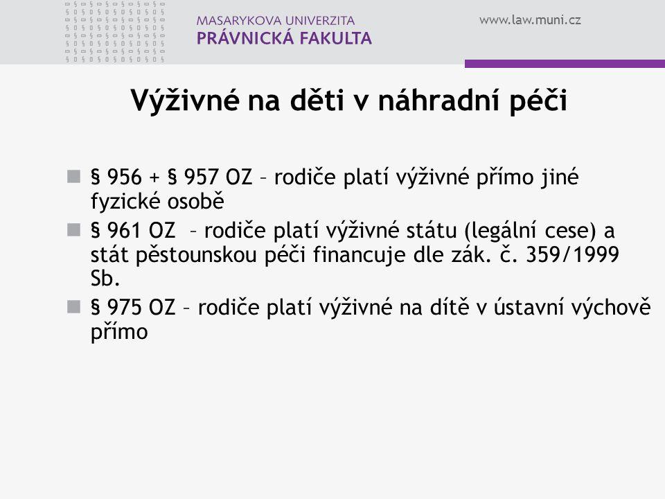 www.law.muni.cz Výživné na děti v náhradní péči § 956 + § 957 OZ – rodiče platí výživné přímo jiné fyzické osobě § 961 OZ – rodiče platí výživné státu (legální cese) a stát pěstounskou péči financuje dle zák.