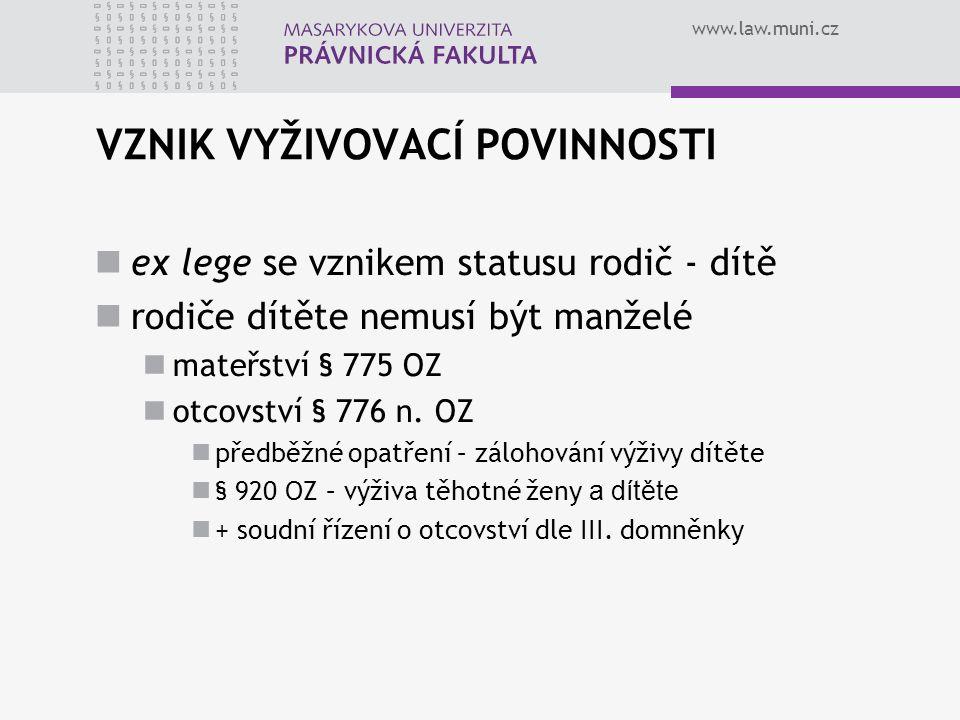www.law.muni.cz VZNIK VYŽIVOVACÍ POVINNOSTI ex lege se vznikem statusu rodič - dítě rodiče dítěte nemusí být manželé mateřství § 775 OZ otcovství § 776 n.