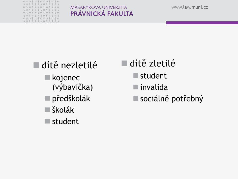 www.law.muni.cz dítě nezletilé kojenec (výbavička) předškolák školák student dítě zletilé student invalida sociálně potřebný