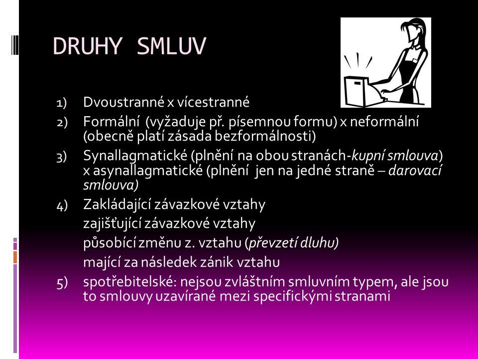 DRUHY SMLUV 1) Dvoustranné x vícestranné 2) Formální (vyžaduje př. písemnou formu) x neformální (obecně platí zásada bezformálnosti) 3) Synallagmatick
