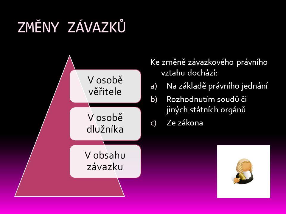 ZMĚNY ZÁVAZKŮ V SUBJEKTECHV OBSAHU 1) OSOBA VĚŘITELE a) Postoupení pohledávky (cesse) 2) OSOBA DLUŽNÍKA a) Převzetí dluhu b) Přistoupení k dluhu c) Převzetí majetku d) Postoupení smlouvy a) Dohoda: dosavadní závazek obstojí vedle nového (kumulativní novace) b) Narovnání: upravuje sporný právní poměr c) Prodlení dlužníka d) Prodlení věřitele