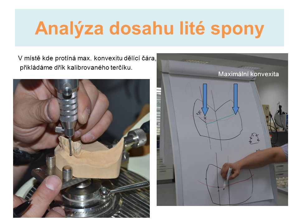 Analýza dosahu lité spony V místě kde protíná max.