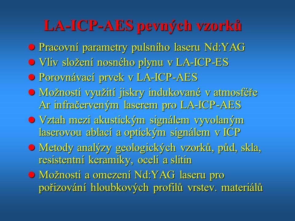 LA-ICP-AES pevných vzorků l Pracovní parametry pulsního laseru Nd:YAG l Vliv složení nosného plynu v LA-ICP-ES l Porovnávací prvek v LA-ICP-AES l Možnosti využití jiskry indukované v atmosféře Ar infračerveným laserem pro LA-ICP-AES l Vztah mezi akustickým signálem vyvolaným laserovou ablací a optickým signálem v ICP l Metody analýzy geologických vzorků, půd, skla, resistentní keramiky, oceli a slitin l Možnosti a omezení Nd:YAG laseru pro pořizování hloubkových profilů vrstev.
