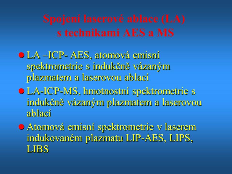 Spojení laserové ablace (LA) s technikami AES a MS l LA –ICP- AES, atomová emisní spektrometrie s indukčně vázaným plazmatem a laserovou ablací l LA-ICP-MS, hmotnostní spektrometrie s indukčně vázaným plazmatem a laserovou ablací l Atomová emisní spektrometrie v laserem indukovaném plazmatu LIP-AES, LIPS, LIBS