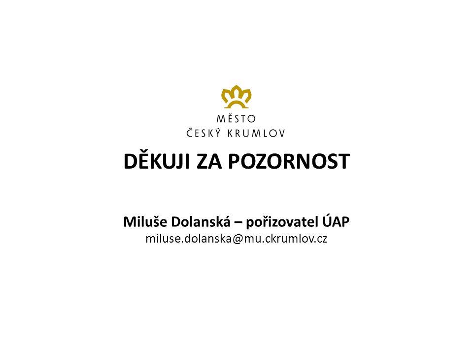 DĚKUJI ZA POZORNOST Miluše Dolanská – pořizovatel ÚAP miluse.dolanska@mu.ckrumlov.cz