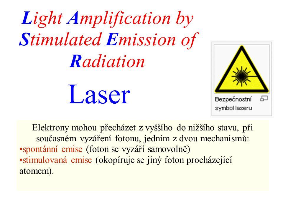 Laser Light Amplification by Stimulated Emission of Radiation Elektrony mohou přecházet z vyššího do nižšího stavu, při současném vyzáření fotonu, jedním z dvou mechanismů: spontánní emise (foton se vyzáří samovolně) stimulovaná emise (okopíruje se jiný foton procházející atomem).