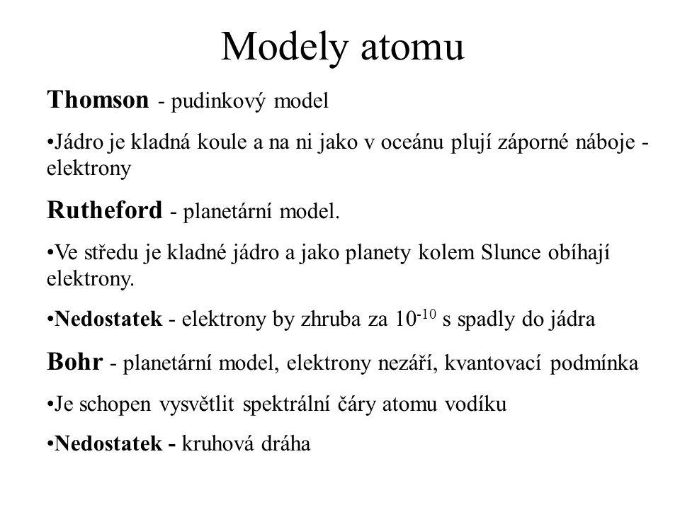 Modely atomu Thomson - pudinkový model Jádro je kladná koule a na ni jako v oceánu plují záporné náboje - elektrony Rutheford - planetární model.