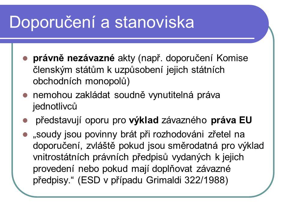 Doporučení a stanoviska právně nezávazné akty (např. doporučení Komise členským státům k uzpůsobení jejich státních obchodních monopolů) nemohou zaklá