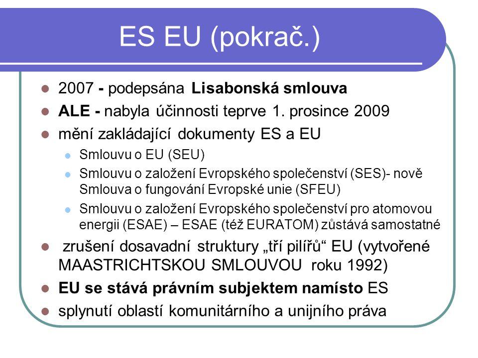 ES EU (pokrač.) 2007 - podepsána Lisabonská smlouva ALE - nabyla účinnosti teprve 1. prosince 2009 mění zakládající dokumenty ES a EU Smlouvu o EU (SE