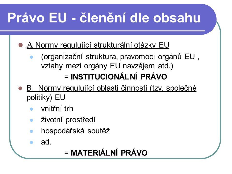 Právo EU - členění dle obsahu A Normy regulující strukturální otázky EU (organizační struktura, pravomoci orgánů EU, vztahy mezi orgány EU navzájem at