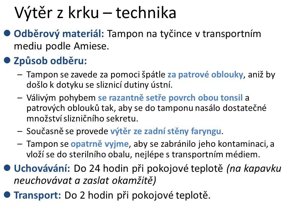 Výtěr z krku – technika Odběrový materiál: Tampon na tyčince v transportním mediu podle Amiese.