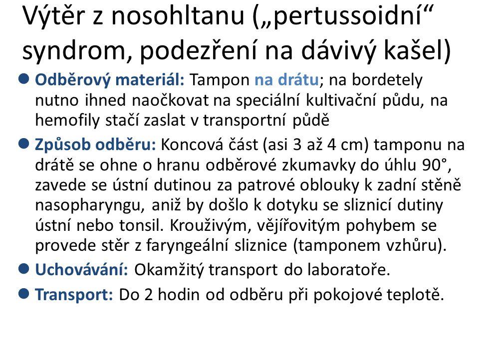"""Výtěr z nosohltanu (""""pertussoidní syndrom, podezření na dávivý kašel) Odběrový materiál: Tampon na drátu; na bordetely nutno ihned naočkovat na speciální kultivační půdu, na hemofily stačí zaslat v transportní půdě Způsob odběru: Koncová část (asi 3 až 4 cm) tamponu na drátě se ohne o hranu odběrové zkumavky do úhlu 90°, zavede se ústní dutinou za patrové oblouky k zadní stěně nasopharyngu, aniž by došlo k dotyku se sliznicí dutiny ústní nebo tonsil."""