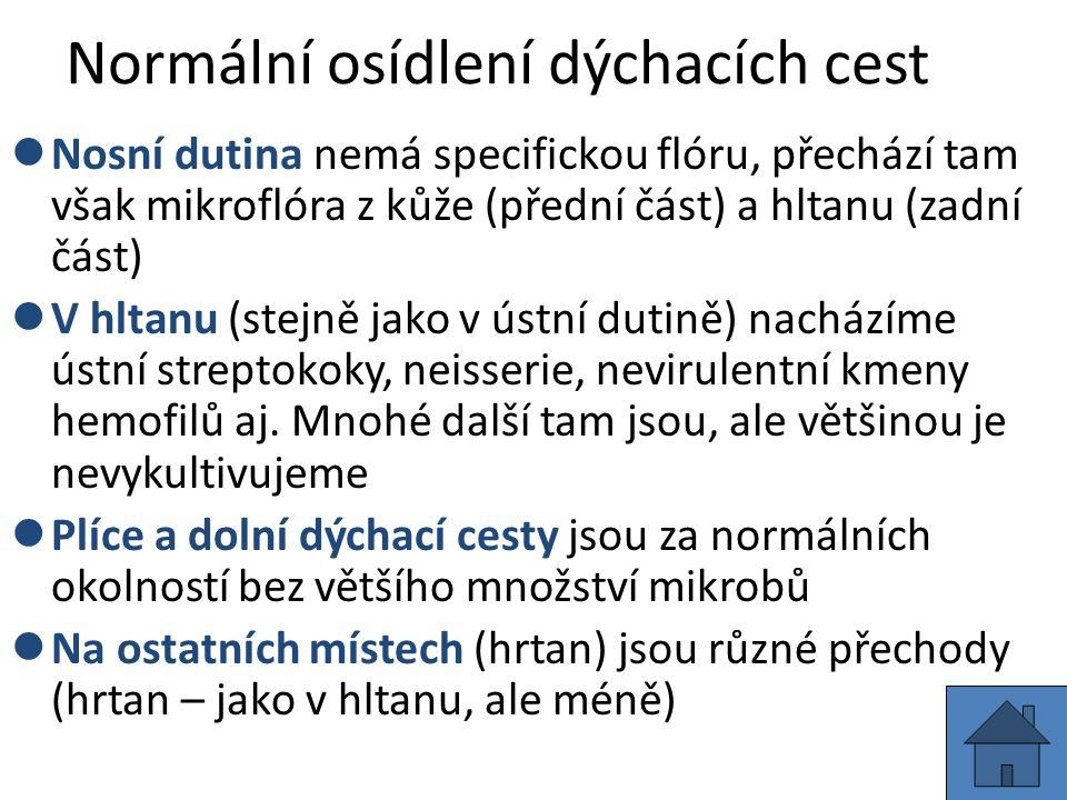 Mikrobiologické vyšetřování infekcí plic U klasických komunitních pneumonií –krev na hemokultivaci (hemokultura) –sputum – mikroskopické a základní kultivační vyšetření –sputum – kultivační průkaz Legionella pneumophila –moč – průkaz antigenu Legionella pneumophila U atypických pneumonií –krev – sérologické vyšetření (průkaz protilátek) –hemokultura a sputum na bakteriologii (pro jistotu) –virologické vyšetření (sérologie, přímý průkaz) –sputum – přímý průkaz původce (EIA, PCR) Speciální případy: TBC (sputum na TBC), plicní aspergilóza (kultivace BAL, antigeny v krvi, serologie)