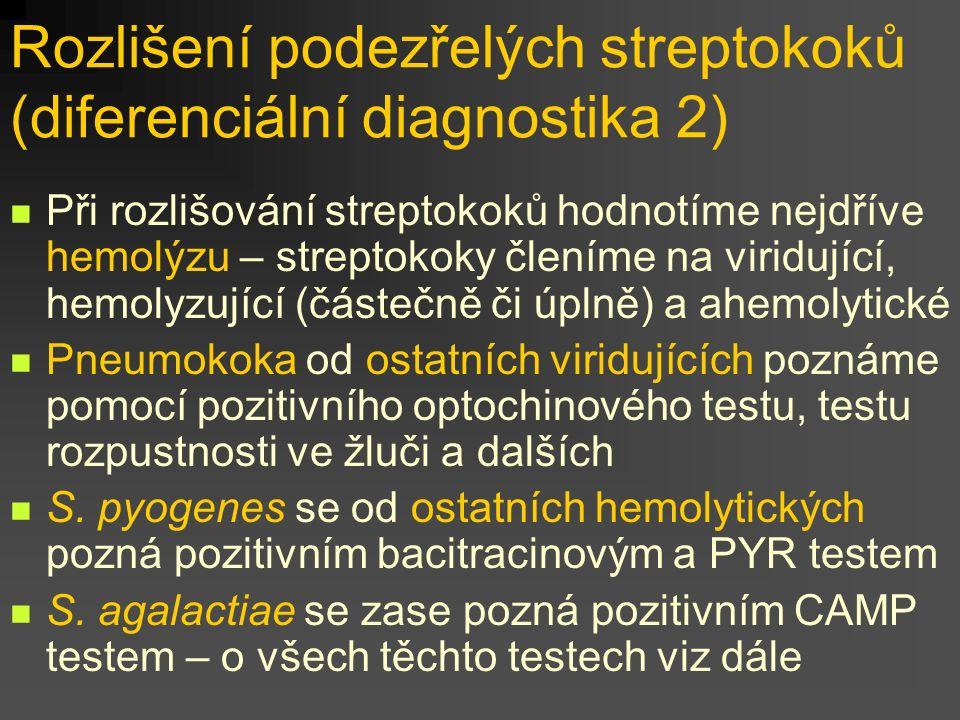 Rozlišení podezřelých streptokoků (diferenciální diagnostika 2) Při rozlišování streptokoků hodnotíme nejdříve hemolýzu – streptokoky členíme na viridující, hemolyzující (částečně či úplně) a ahemolytické Pneumokoka od ostatních viridujících poznáme pomocí pozitivního optochinového testu, testu rozpustnosti ve žluči a dalších S.