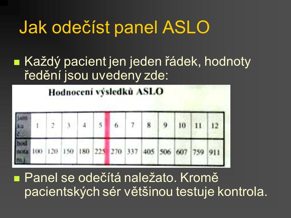 Jak odečíst panel ASLO Každý pacient jen jeden řádek, hodnoty ředění jsou uvedeny zde: Panel se odečítá naležato.