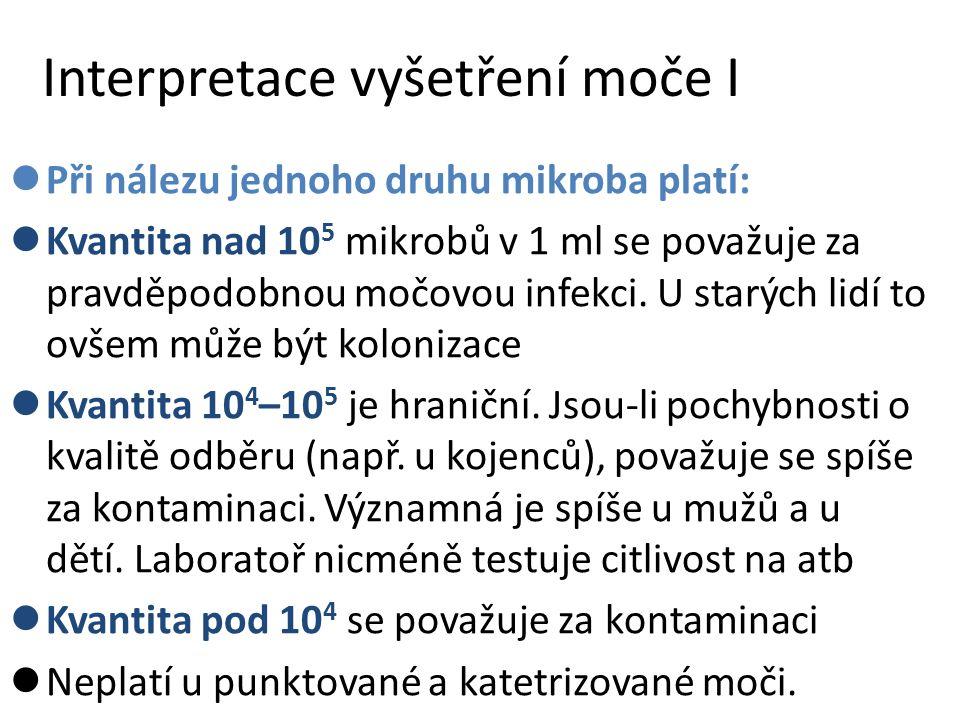 Interpretace vyšetření moče I Při nálezu jednoho druhu mikroba platí: Kvantita nad 10 5 mikrobů v 1 ml se považuje za pravděpodobnou močovou infekci.