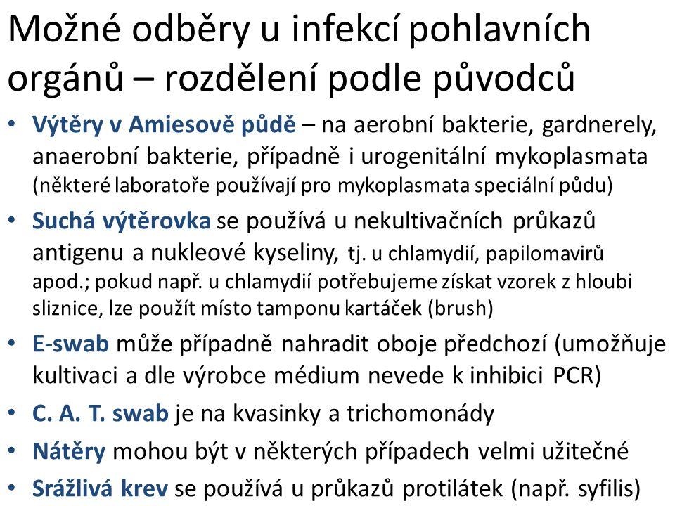 Možné odběry u infekcí pohlavních orgánů – rozdělení podle původců Výtěry v Amiesově půdě – na aerobní bakterie, gardnerely, anaerobní bakterie, přípa