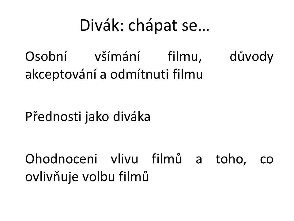 Divák: chápat se… Osobní všímání filmu, důvody akceptování a odmítnuti filmu Přednosti jako diváka Ohodnoceni vlivu filmů a toho, co ovlivňuje volbu filmů