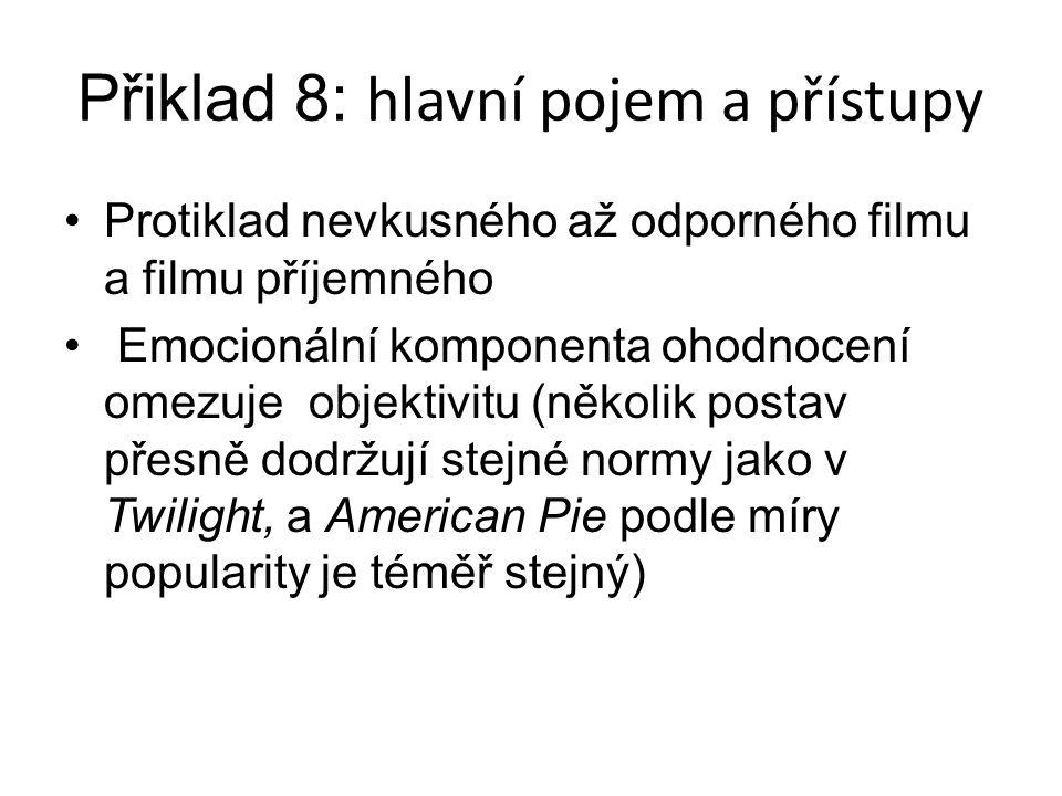 Přiklad 8: hlavní pojem a přístupy Protiklad nevkusného až odporného filmu a filmu příjemného Emocionální komponenta ohodnocení omezuje objektivitu (několik postav přesně dodržují stejné normy jako v Twilight, a American Pie podle míry popularity je téměř stejný)