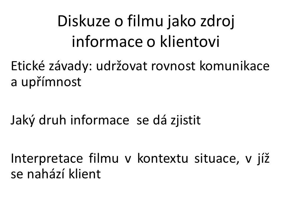 Diskuze o filmu jako zdroj informace o klientovi Etické závady: udržovat rovnost komunikace a upřímnost Jaký druh informace se dá zjistit Interpretace filmu v kontextu situace, v jíž se nahází klient