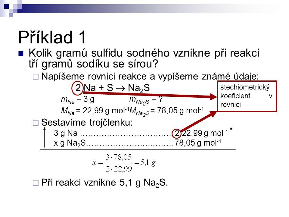 Kolik gramů sulfidu sodného vznikne při reakci tří gramů sodíku se sírou?  Napíšeme rovnici reakce a vypíšeme známé údaje: 2 Na + S  Na 2 S  Sestav
