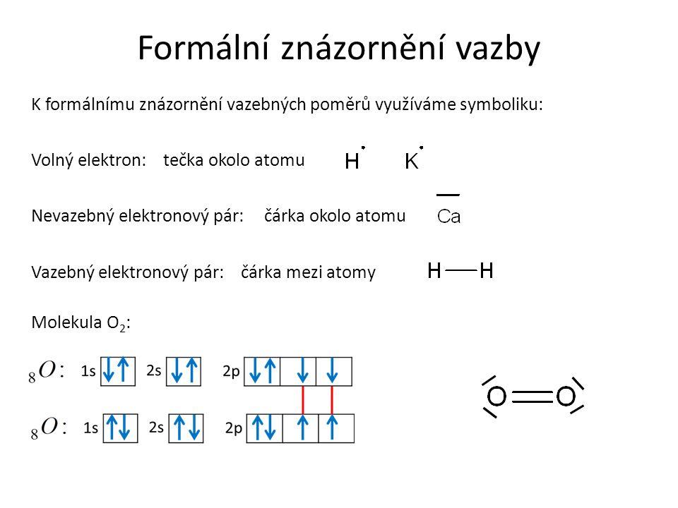 Formální znázornění vazby K formálnímu znázornění vazebných poměrů využíváme symboliku: Volný elektron: Vazebný elektronový pár: Nevazebný elektronový pár: tečka okolo atomu čárka okolo atomu čárka mezi atomy Molekula O 2 :