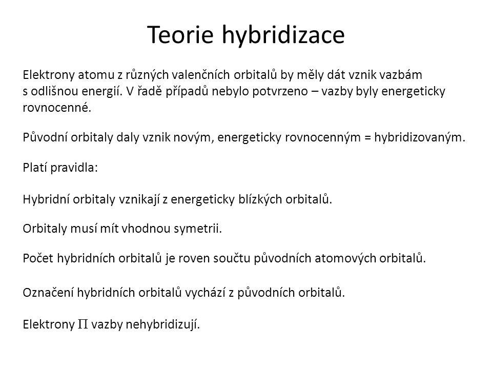 Teorie hybridizace Elektrony atomu z různých valenčních orbitalů by měly dát vznik vazbám s odlišnou energií.