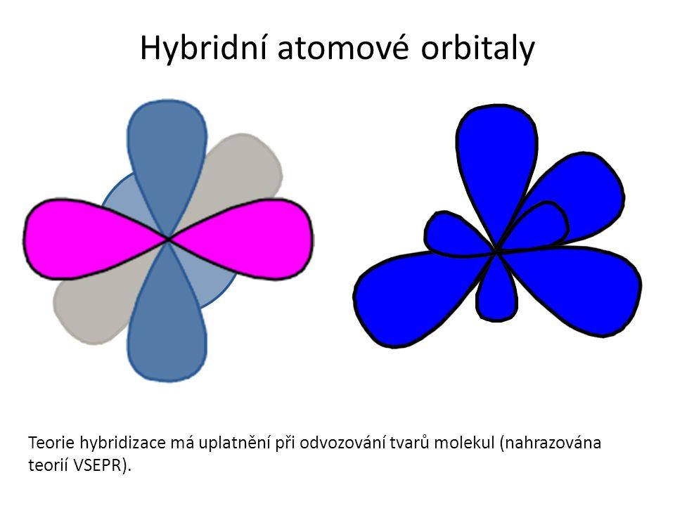 Hybridní atomové orbitaly Teorie hybridizace má uplatnění při odvozování tvarů molekul (nahrazována teorií VSEPR).