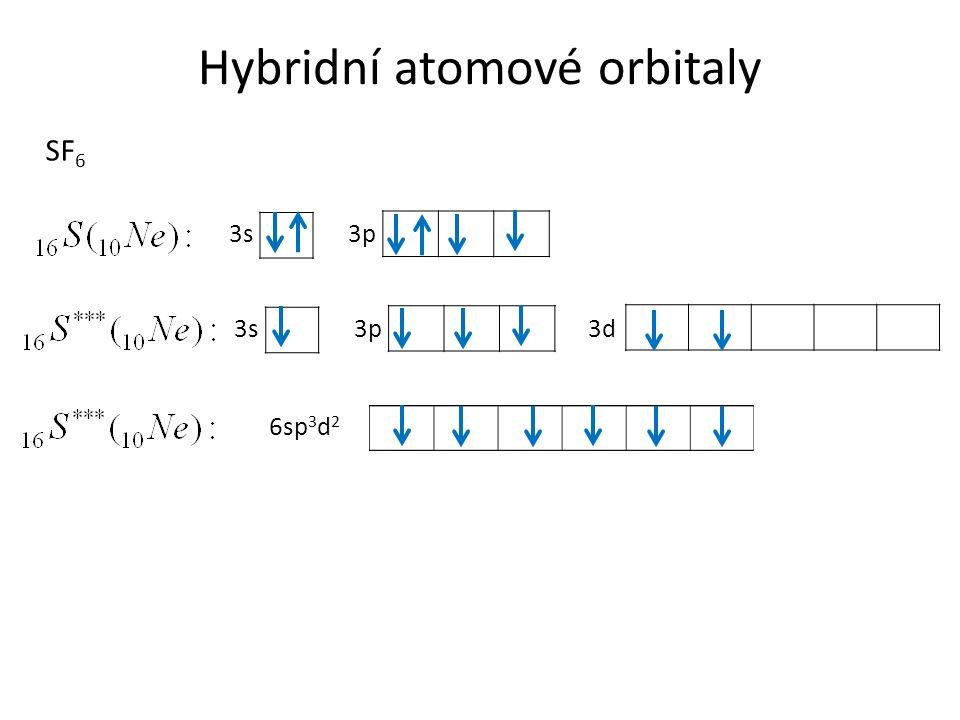 Hybridní atomové orbitaly SF 6 3s3p 3s3p3d 6sp 3 d 2