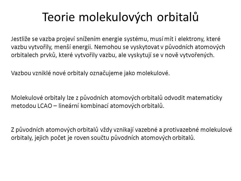 Teorie molekulových orbitalů Jestliže se vazba projeví snížením energie systému, musí mít i elektrony, které vazbu vytvořily, menší energii.