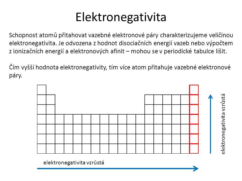 Elektronegativita Schopnost atomů přitahovat vazebné elektronové páry charakterizujeme veličinou elektronegativita.
