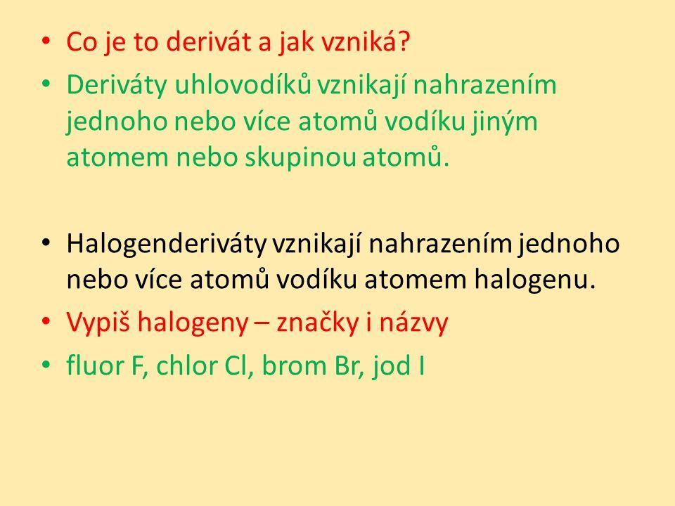 Vznik Název halogenderivátu je tvořen názvem halogenu a uhlovodíku, např.