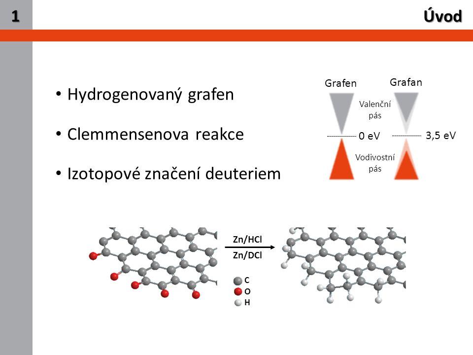 2 Úvod 1 Hydrogenovaný grafen Clemmensenova reakce Izotopové značení deuteriem Grafen Grafan 0 eV 3,5 eV Valenční pás Vodivostní pás COHCOH Zn/HCl Zn/DCl