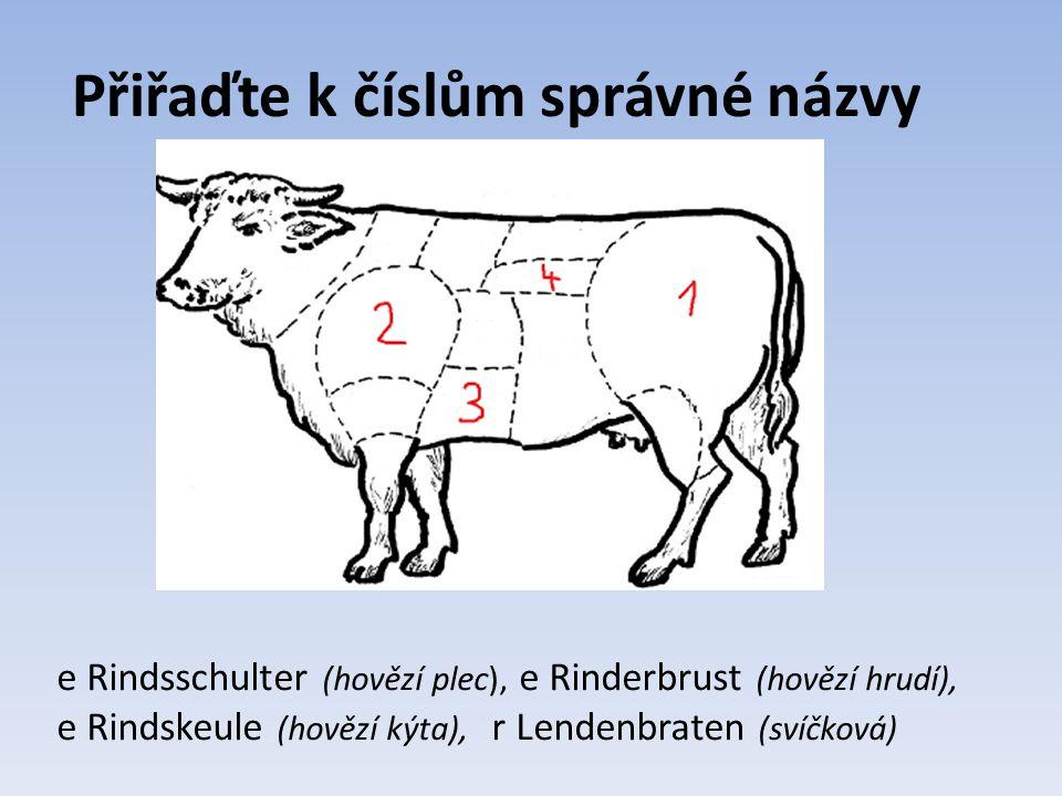 Přiřaďte k číslům správné názvy e Rindsschulter (hovězí plec), e Rinderbrust (hovězí hrudí), e Rindskeule (hovězí kýta), r Lendenbraten (svíčková)